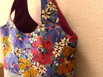 ★リバティプリント★花柄のミニバッグ ブルーの画像