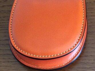 栃木レザー 馬蹄型コインケース オレンジの画像