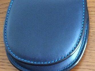 栃木レザー 馬蹄型コインケース ネイビーの画像