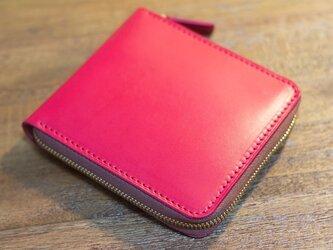 革のファスナー2つ折り財布 ピンクxヌメ革の画像