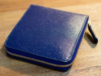 革のファスナー2つ折り財布 ロイヤルブルーの画像