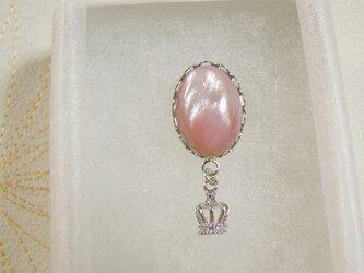 天然石のラペルピン ピンクシェルの画像