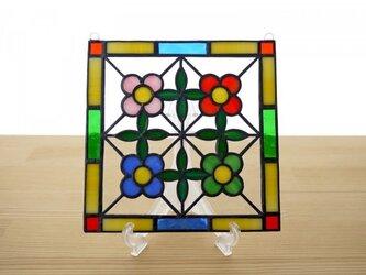 [ご予約分] ステンドグラス ミニパネル 花壇 15cmの画像