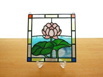ステンドグラス ミニパネル 蓮 15cmの画像