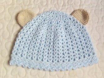 くまみみ付まるフリルのお帽子  ~43cm   ベビーブルーの画像