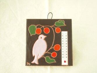 タイル温度計(鳥)焦げ茶色の画像
