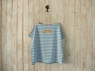 どっちもTシャツ(リボン)/青白ボーダー×チャコールグレーの画像
