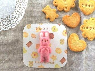 うさぎクッキーのブローチ いちごの画像