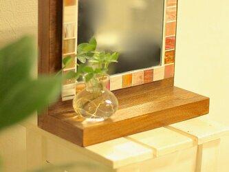 木棚付モザイクタイルのミラーM-TI-09pinkの画像