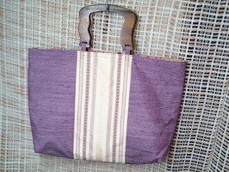 ♪帯地を使ったトートバッグ5薄紫の画像