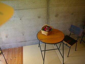 アイアン+アカマツの丸テーブル【082】の画像