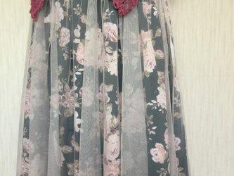 (サイズフリー)ソフトオーガンジーに包まれた薔薇のスカート《値下げしました》の画像
