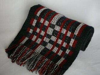 昼夜織りのマフラー(白・黒・赤)の画像