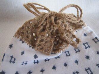 ゆかた地ふち編み巾着の画像