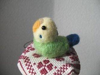 羊毛フェルト セキセイインコストラップの画像