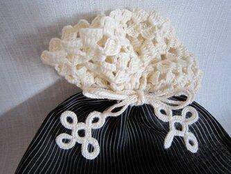 黒着物地ふち編み巾着の画像