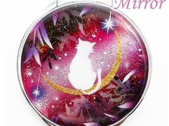 丸ミラー 猫と月~星に願いを~赤紫Ver.の画像
