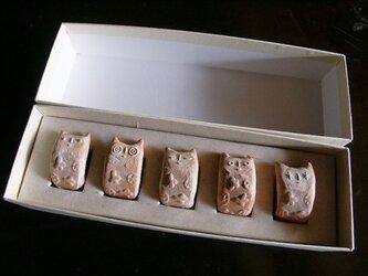でんでんねこ★モノグラム(5匹ギフト)※専用箱(白×白)入りの画像