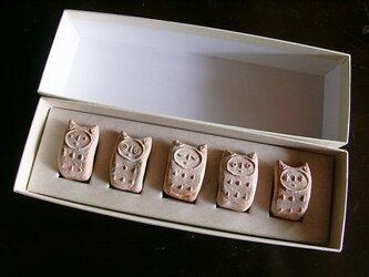 でんでんねこ★レンガ(5匹ギフト)※専用箱(白×白)入りの画像