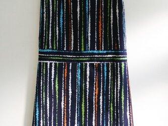 綿 紺 変わり縞 ノースリーブワンピース Mサイズの画像