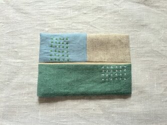 ティッシュケース emeraldgreen&light blueの画像