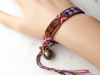 マヤ末裔が作るミサンガを脱着可能に。小 ナガ骨董鈴 17cmの画像