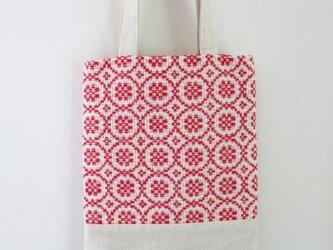 手織り布のちいさな手提げ/赤の画像