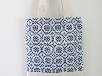 手織り布のちいさな手提げ/青の画像