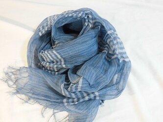 藍染麻マフラー ボーダーの画像