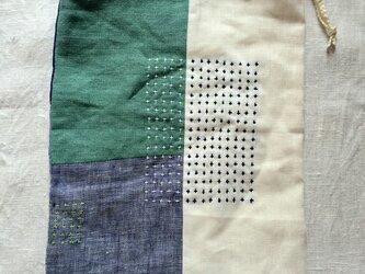 リネンの巾着袋 emerald green&blueの画像