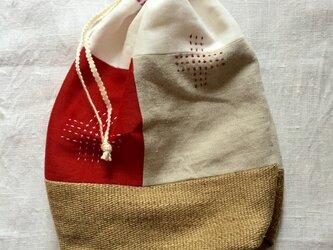 リネンの巾着袋 redの画像