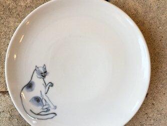 染付5寸猫皿 40の画像