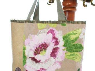 sale 花のフレンチリネン×豚革×格子きもの地のトートバッグの画像