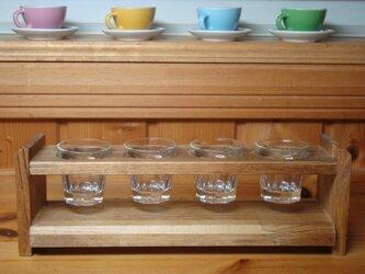 木製4連グラススタンド グラス付!の画像