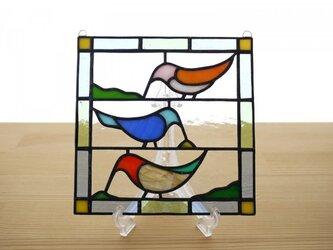 [ご予約分] ステンドグラス ミニパネル 小鳥 15cmの画像