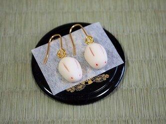和菓子のピアス(うさぎ薯蕷)の画像