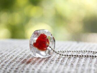 蜻蛉玉のネックレス*レッド〈2018-27〉の画像