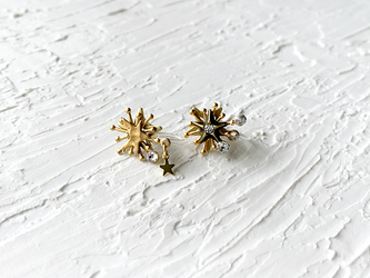 一等星と星カタマリの耳飾り(ノンホールピアス)の画像