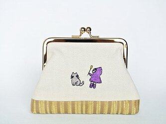 猫じゃらしのひと(ムラサキ)/刺繍がま口ポーチの画像