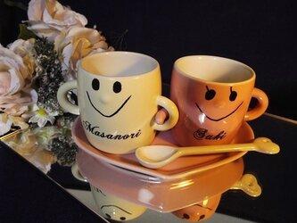 なかよしペアマグカップ(名入れ彫刻)箱付の画像