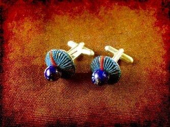 カフス(藍染綿糸編み瑠璃玉)の画像