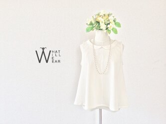 PLEAT FLARE TOP (OFF-WHITE)の画像