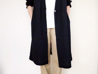 【受注生産】コットンリネンのコート ブラックの画像