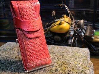 牛ヌメ革バスケット柄ペンケース・レッドの画像