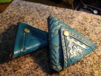 バスケット紋様トライアングルコインケース・ブルーの画像
