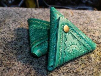 バスケット紋様トライアングルコインケース・グリーンの画像