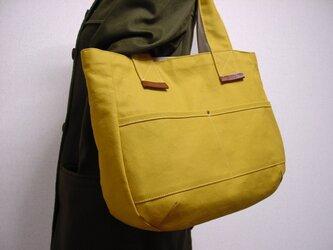 キャンバストートバッグ(からし色×ブラウン革)の画像