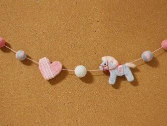 羊毛フェルト 馬のパステルカラーオーナメントの画像