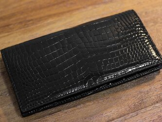 クロコダイルレザー長財布 ブラックの画像
