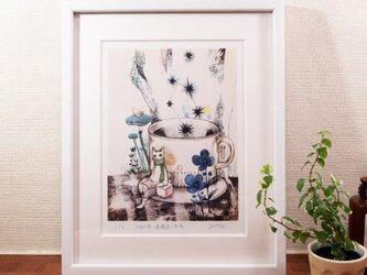 『木漏れ陽 檸檬鳥と旅猫』デジタル画 額装品の画像